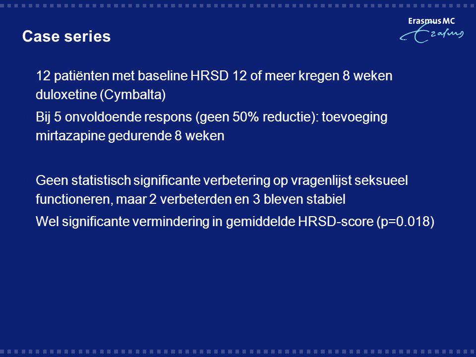 Open-label trial  N=49 (25 mannen), 8 weken open-label  Met SSRI reeds in remissie (HRSD<7), dosis onveranderd  15 mg mirtazapine ged.