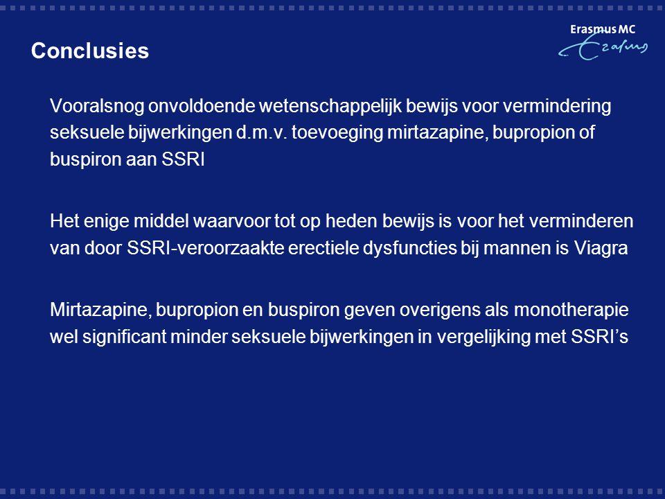Conclusies  Vooralsnog onvoldoende wetenschappelijk bewijs voor vermindering seksuele bijwerkingen d.m.v. toevoeging mirtazapine, bupropion of buspir