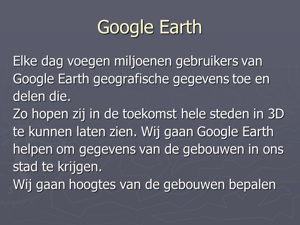 Google Earth Elke dag voegen miljoenen gebruikers van Google Earth geografische gegevens toe en delen die. Zo hopen zij in de toekomst hele steden in