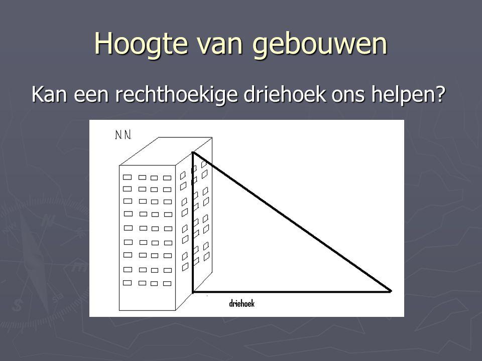 Hoogte van gebouwen Kan een rechthoekige driehoek ons helpen?