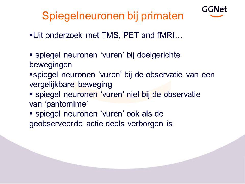 Spiegelneuronen bij primaten  Uit onderzoek met TMS, PET and fMRI…  spiegel neuronen 'vuren' bij doelgerichte bewegingen  spiegel neuronen 'vuren'