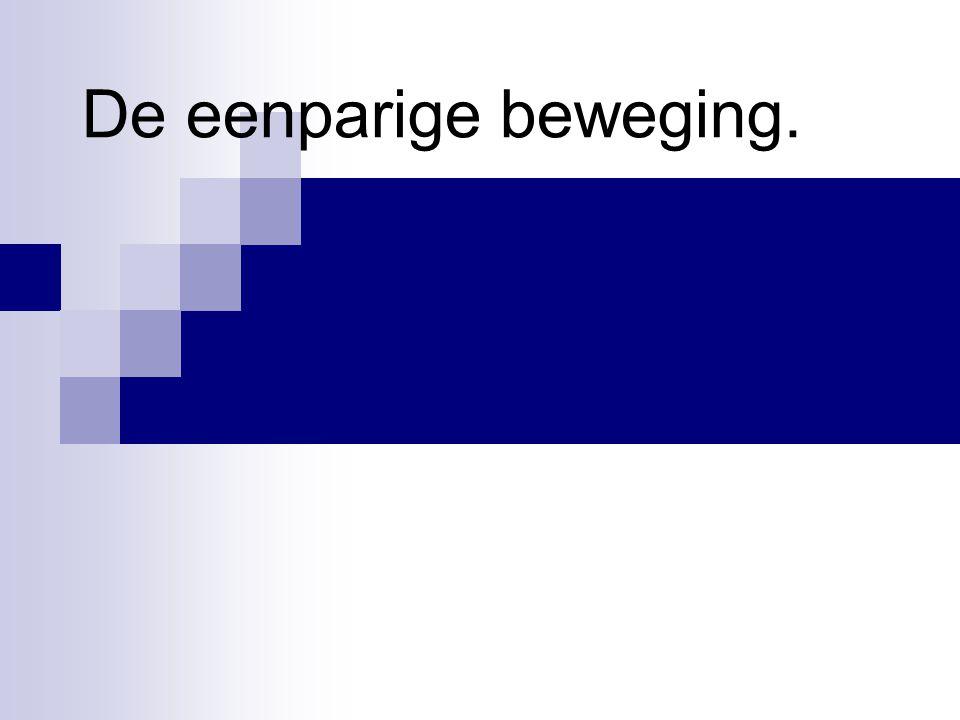 Wanneer een voorwerp zich steeds met dezelfde snelheid verplaatst noemen we dat een eenparige beweging De volgende applet geeft een voorbeeld van een eenparige beweging: http://jersey.uoregon.edu/vlab/block/Block.html