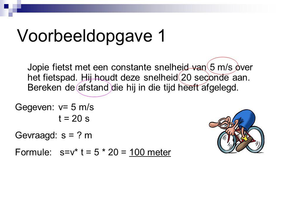 Voorbeeldopgave 1 Jopie fietst met een constante snelheid van 5 m/s over het fietspad.