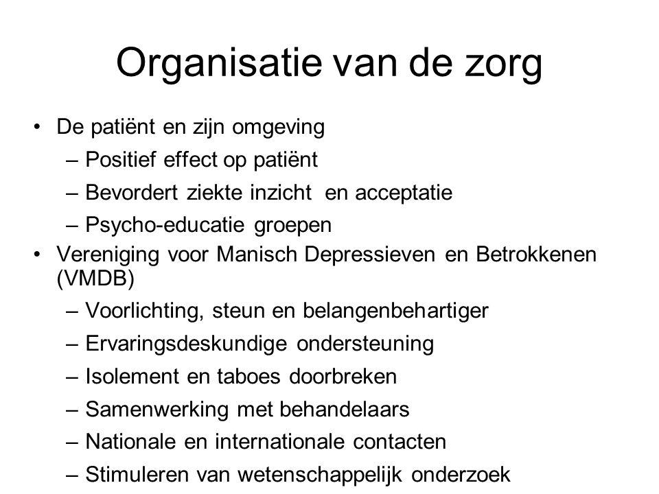 Organisatie van de zorg De patiënt en zijn omgeving –Positief effect op patiënt –Bevordert ziekte inzicht en acceptatie –Psycho-educatie groepen Veren