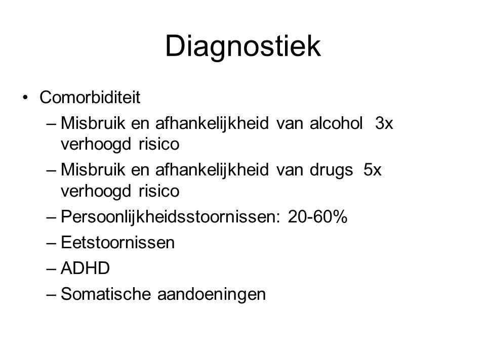 Diagnostiek Comorbiditeit –Misbruik en afhankelijkheid van alcohol 3x verhoogd risico –Misbruik en afhankelijkheid van drugs 5x verhoogd risico –Perso