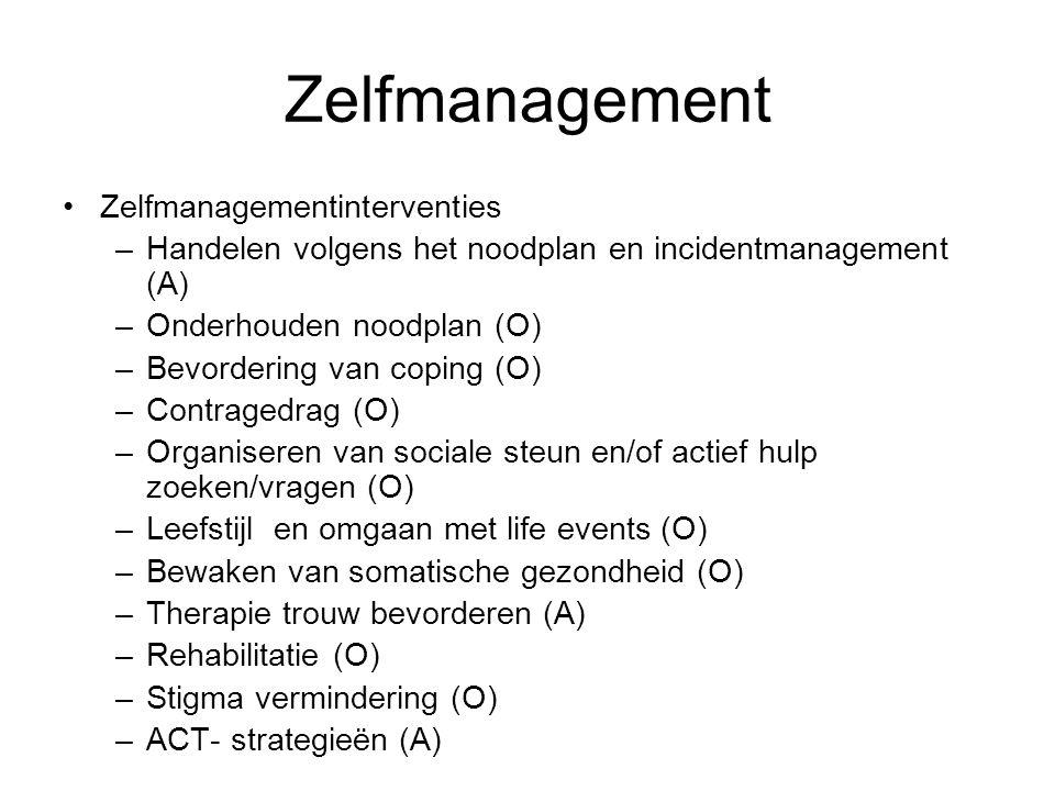 Zelfmanagement Zelfmanagementinterventies –Handelen volgens het noodplan en incidentmanagement (A) –Onderhouden noodplan (O) –Bevordering van coping