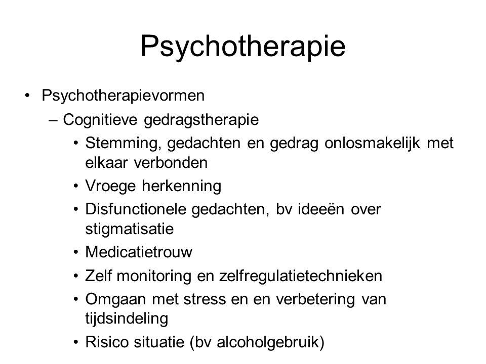Psychotherapie Psychotherapievormen –Cognitieve gedragstherapie Stemming, gedachten en gedrag onlosmakelijk met elkaar verbonden Vroege herkenning Dis
