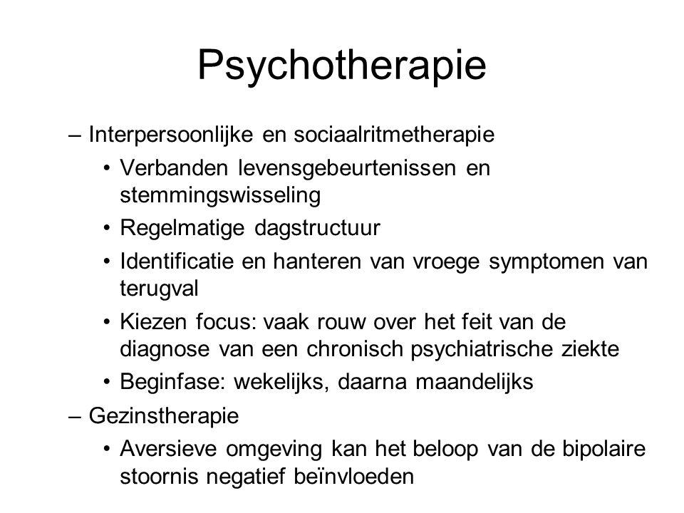 Psychotherapie –Interpersoonlijke en sociaalritmetherapie Verbanden levensgebeurtenissen en stemmingswisseling Regelmatige dagstructuur Identificatie