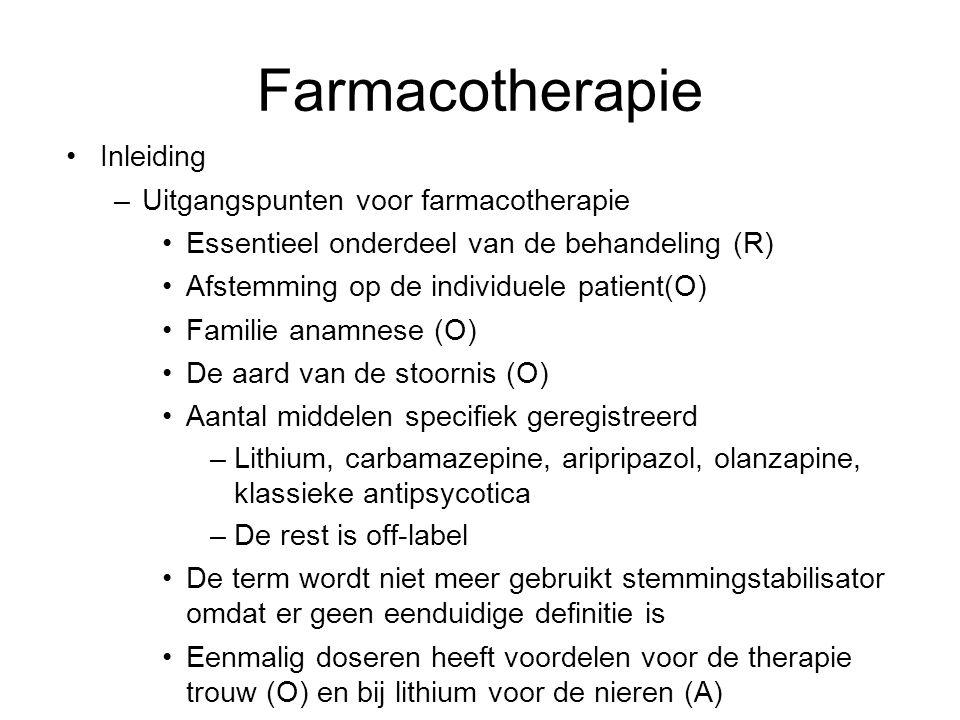 Inleiding –Uitgangspunten voor farmacotherapie Essentieel onderdeel van de behandeling (R) Afstemming op de individuele patient(O) Familie anamnese