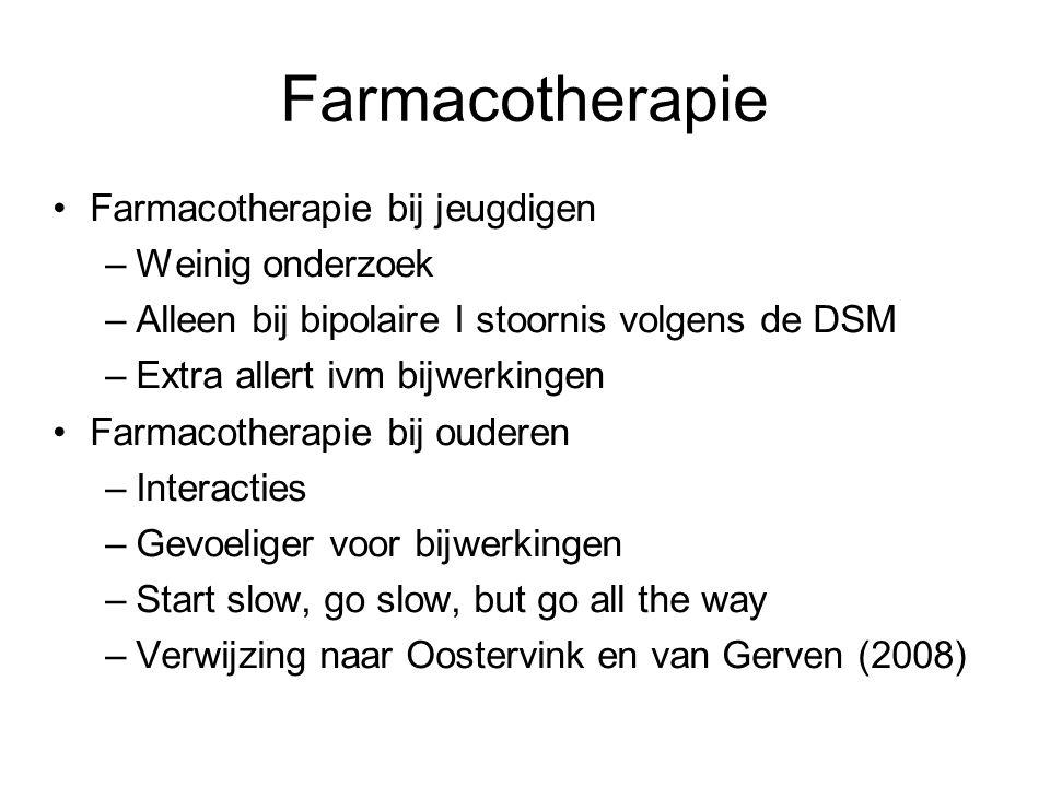 Farmacotherapie Farmacotherapie bij jeugdigen –Weinig onderzoek –Alleen bij bipolaire I stoornis volgens de DSM –Extra allert ivm bijwerkingen Farmaco