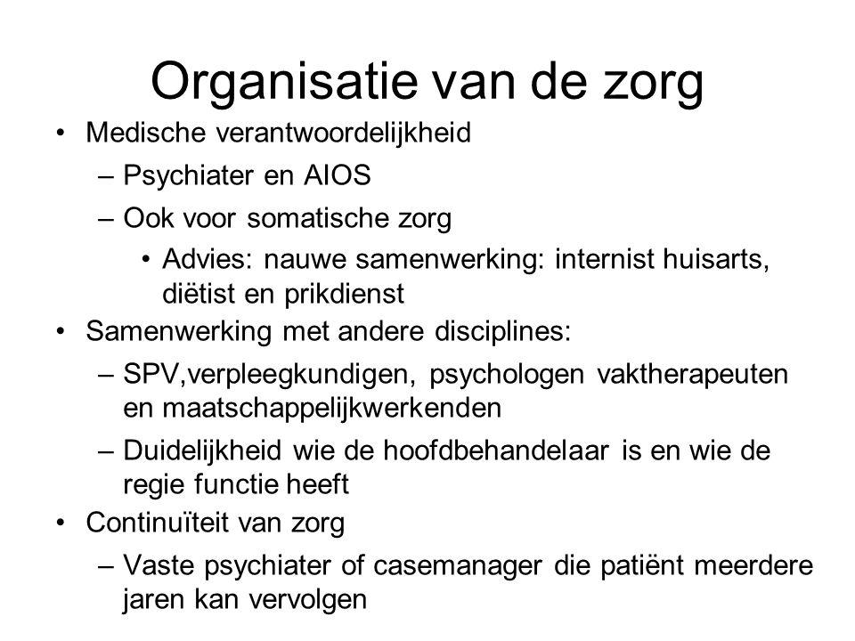 Organisatie van de zorg Medische verantwoordelijkheid –Psychiater en AIOS –Ook voor somatische zorg Advies: nauwe samenwerking: internist huisarts, di