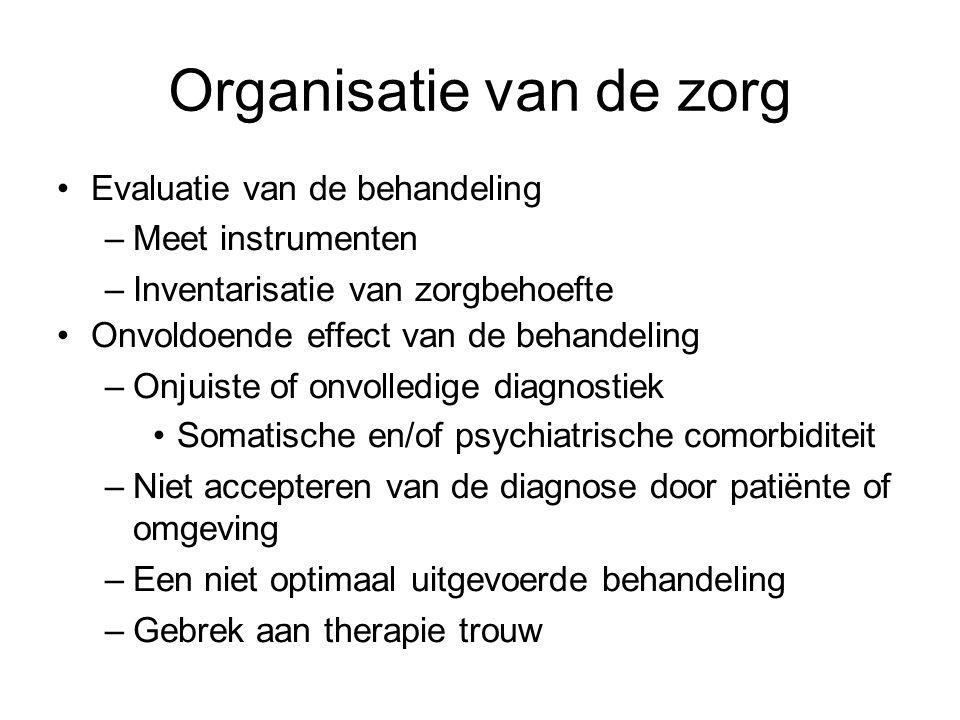 Organisatie van de zorg Evaluatie van de behandeling –Meet instrumenten –Inventarisatie van zorgbehoefte Onvoldoende effect van de behandeling –Onjuis