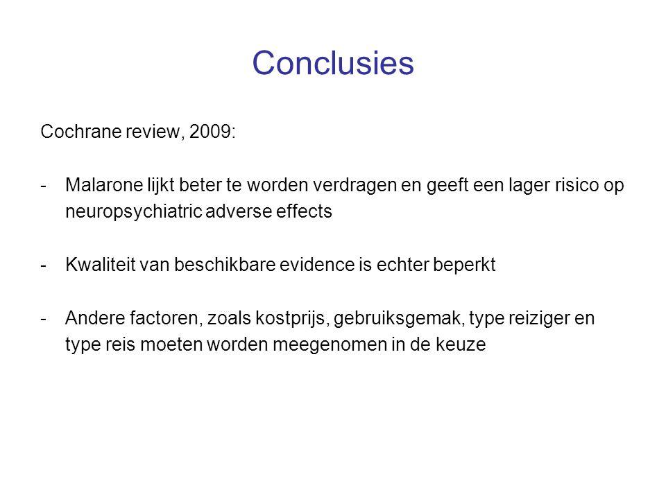 Conclusies Cochrane review, 2009: -Malarone lijkt beter te worden verdragen en geeft een lager risico op neuropsychiatric adverse effects -Kwaliteit v