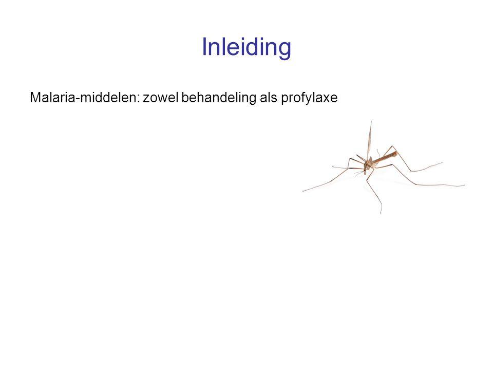 Inleiding Malaria-middelen: zowel behandeling als profylaxe Incidentie neurocognitieve bijwerkingen: curatieve dosis > profylactische dosis
