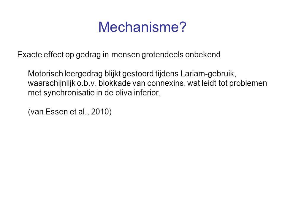Mechanisme? Exacte effect op gedrag in mensen grotendeels onbekend Motorisch leergedrag blijkt gestoord tijdens Lariam-gebruik, waarschijnlijk o.b.v.