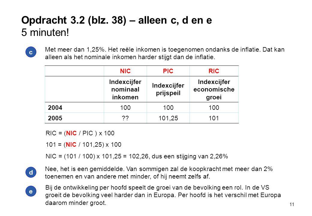 Opdracht 3.2 (blz. 38) – alleen c, d en e 5 minuten! 11 c Met meer dan 1,25%. Het reële inkomen is toegenomen ondanks de inflatie. Dat kan alleen als