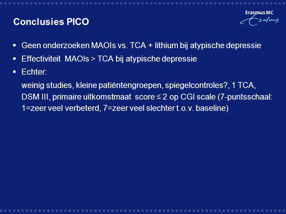 Conclusies PICO  Geen onderzoeken MAOIs vs. TCA + lithium bij atypische depressie  Effectiviteit MAOIs > TCA bij atypische depressie  Echter: weini