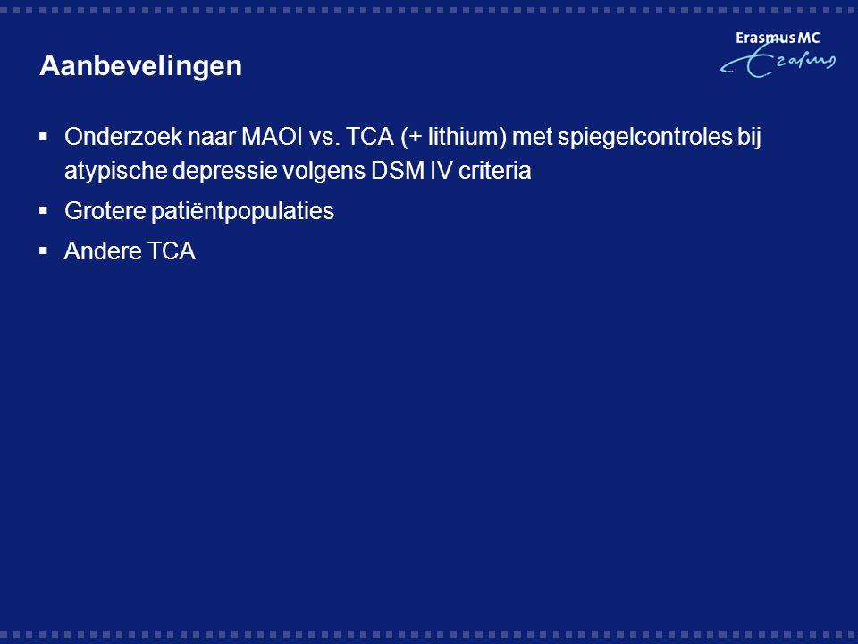 Aanbevelingen  Onderzoek naar MAOI vs. TCA (+ lithium) met spiegelcontroles bij atypische depressie volgens DSM IV criteria  Grotere patiëntpopulati