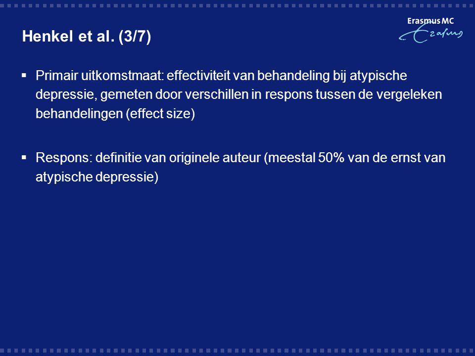 Henkel et al. (3/7)  Primair uitkomstmaat: effectiviteit van behandeling bij atypische depressie, gemeten door verschillen in respons tussen de verge