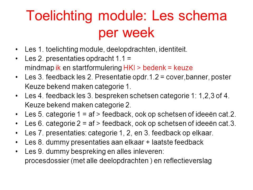 Toelichting module: Les schema per week Les 1. toelichting module, deelopdrachten, identiteit. Les 2. presentaties opdracht 1.1 = mindmap ik en startf