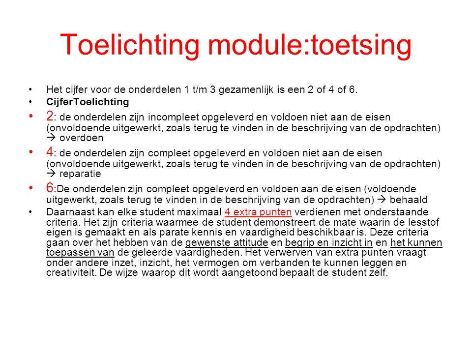 Toelichting module:toetsing Het cijfer voor de onderdelen 1 t/m 3 gezamenlijk is een 2 of 4 of 6. CijferToelichting 2 : de onderdelen zijn incompleet