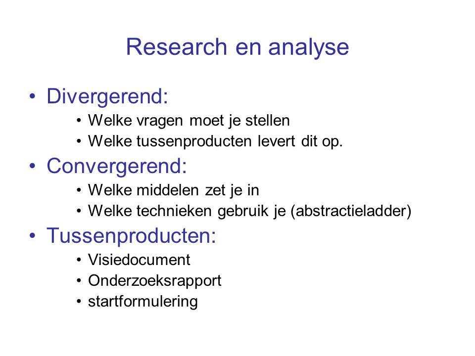 Research en analyse Divergerend: Welke vragen moet je stellen Welke tussenproducten levert dit op.