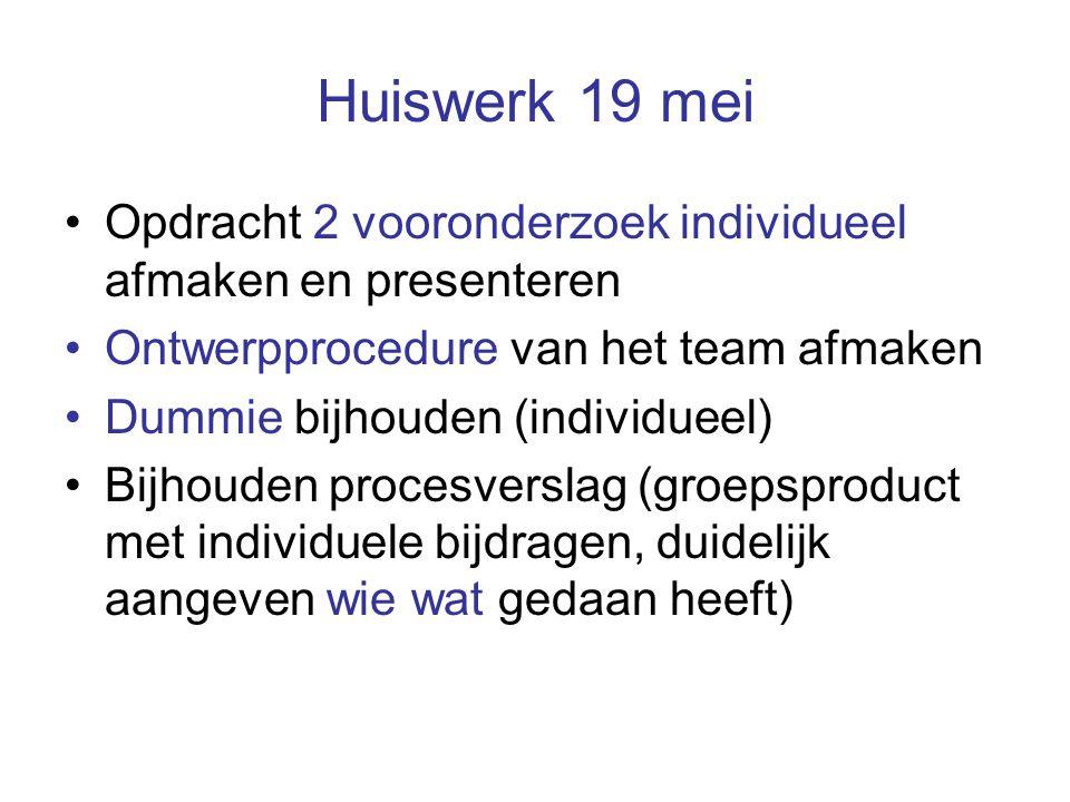 Huiswerk 19 mei Opdracht 2 vooronderzoek individueel afmaken en presenteren Ontwerpprocedure van het team afmaken Dummie bijhouden (individueel) Bijhouden procesverslag (groepsproduct met individuele bijdragen, duidelijk aangeven wie wat gedaan heeft)