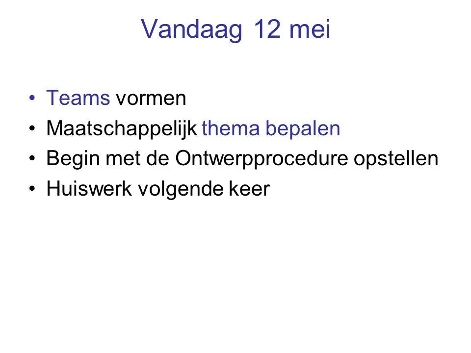 Vandaag 12 mei Teams vormen Maatschappelijk thema bepalen Begin met de Ontwerpprocedure opstellen Huiswerk volgende keer