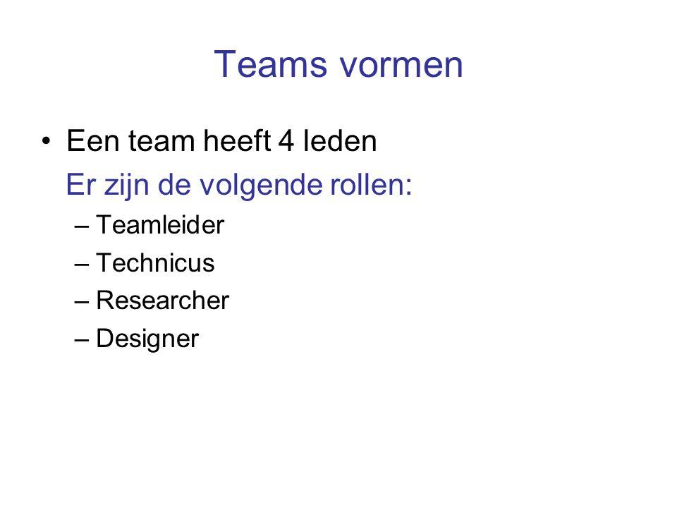 Teams vormen Een team heeft 4 leden Er zijn de volgende rollen: –Teamleider –Technicus –Researcher –Designer