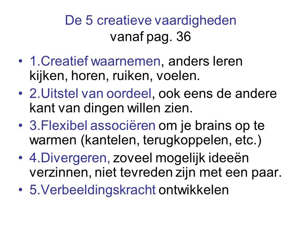 De 5 creatieve vaardigheden vanaf pag.
