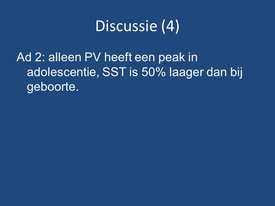 Discussie (4) Ad 2: alleen PV heeft een peak in adolescentie, SST is 50% laager dan bij geboorte.