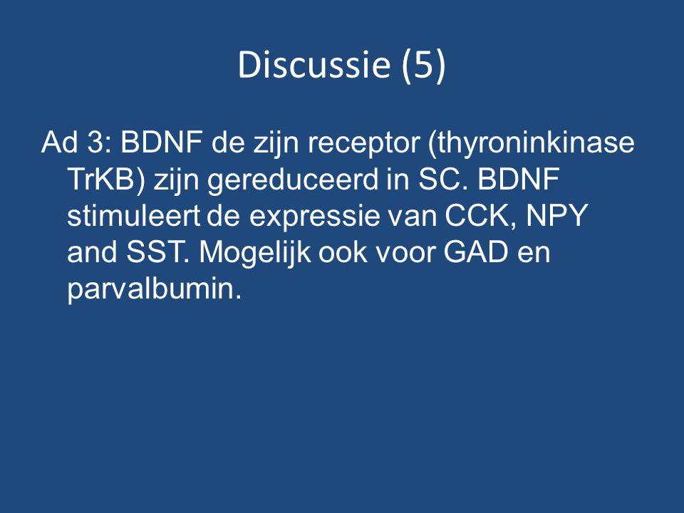Discussie (5) Ad 3: BDNF de zijn receptor (thyroninkinase TrKB) zijn gereduceerd in SC.
