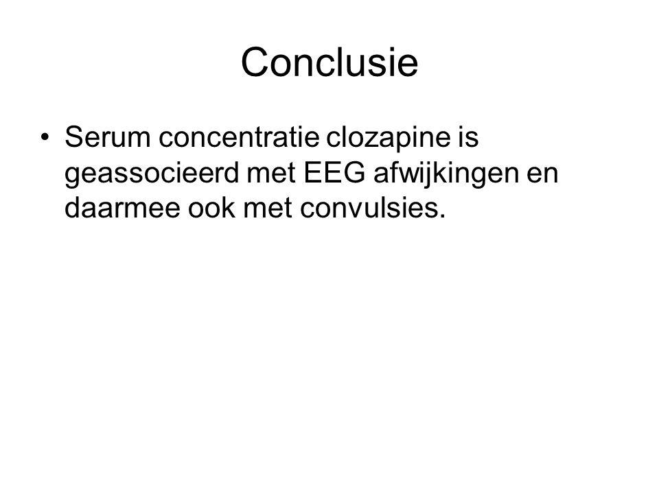 Conclusie Serum concentratie clozapine is geassocieerd met EEG afwijkingen en daarmee ook met convulsies.