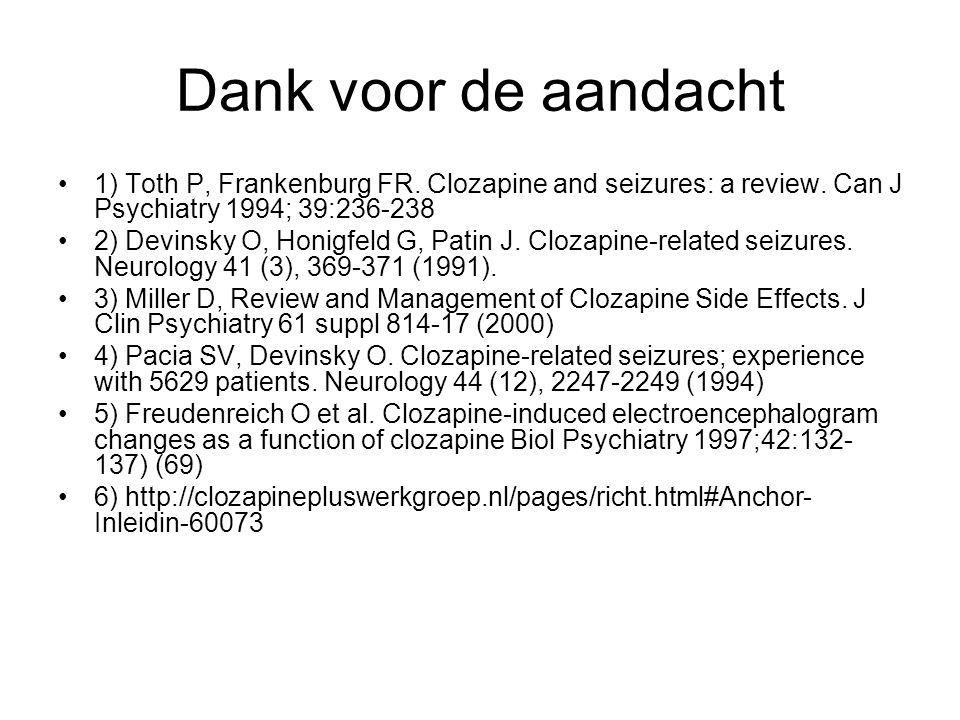 Dank voor de aandacht 1) Toth P, Frankenburg FR.Clozapine and seizures: a review.