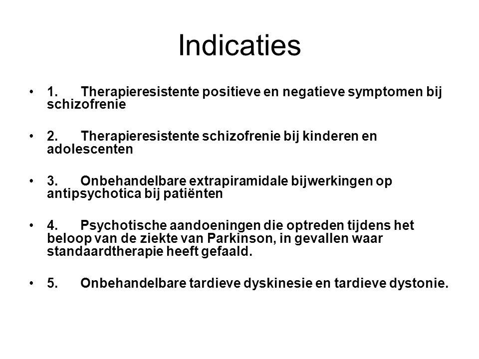 Indicaties 1.Therapieresistente positieve en negatieve symptomen bij schizofrenie 2.