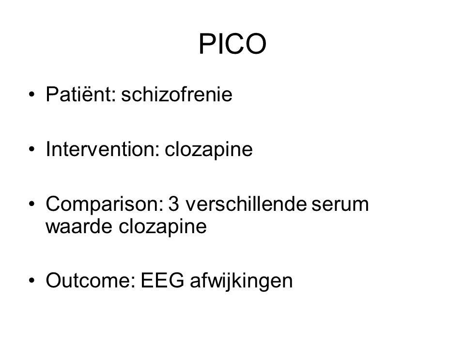 PICO Patiënt: schizofrenie Intervention: clozapine Comparison: 3 verschillende serum waarde clozapine Outcome: EEG afwijkingen