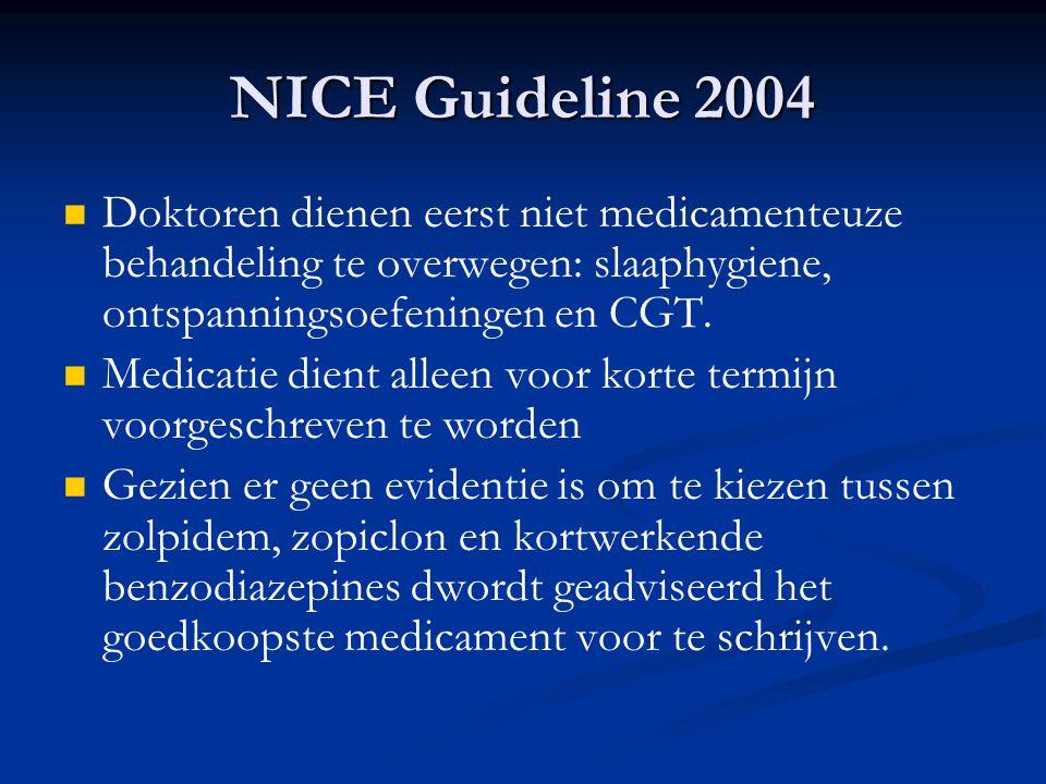NICE Guideline 2004 Doktoren dienen eerst niet medicamenteuze behandeling te overwegen: slaaphygiene, ontspanningsoefeningen en CGT. Medicatie dient a