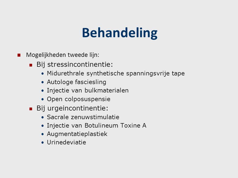 Behandeling Mogelijkheden tweede lijn: Bij stressincontinentie: Midurethrale synthetische spanningsvrije tape Autologe fasciesling Injectie van bulkma