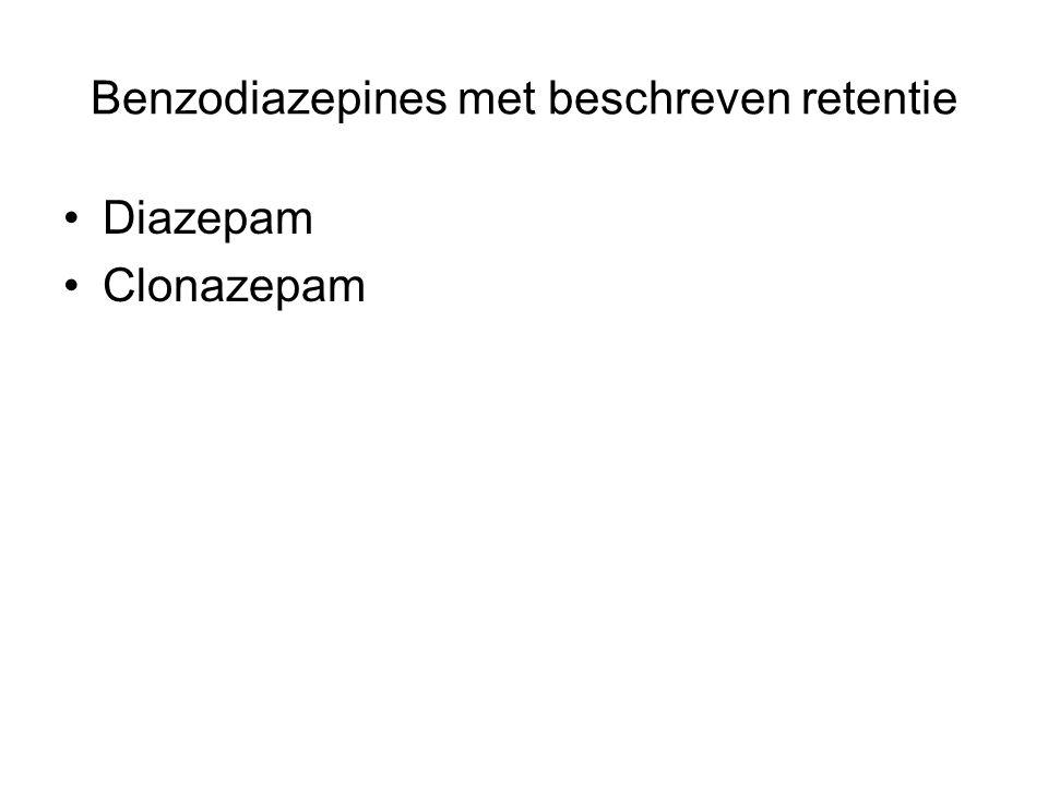 Benzodiazepines met beschreven retentie Diazepam Clonazepam