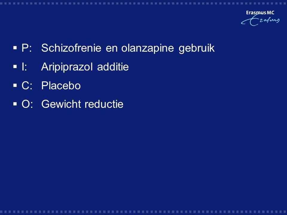 A 12-month follow-up study of treating overweight schizophrenic patients with aripiprazole; Schorr et al, 2008  Non-controlled cohort studie bij schizofrenie patienten, BMI > 25  53 patienten  Methode: aripiprazol additie bij baseline AP (na 2-4 weken afbouw)  29/53 patienten studie afgerond  16 pt monotherapie aripiprazol  gem.