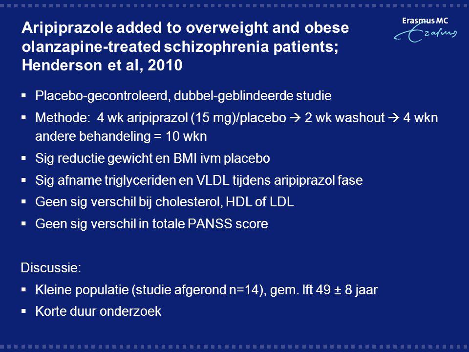Take-home message  Vraag: is er evidentie voor aripiprazol additie om overgewicht als bijwerking van olanzapine gebruik tegen te gaan.