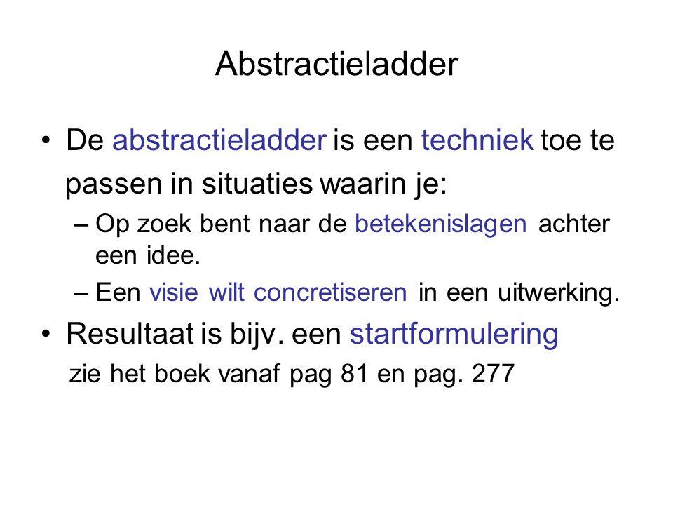 Abstractieladder Omhoog op de ladder: –Richting betekenis en concept –De waarom….. vraag, bijv.