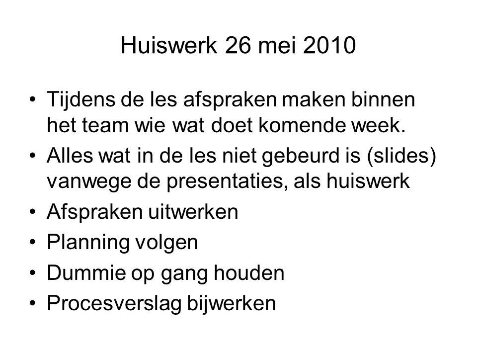 Huiswerk 26 mei 2010 Tijdens de les afspraken maken binnen het team wie wat doet komende week.