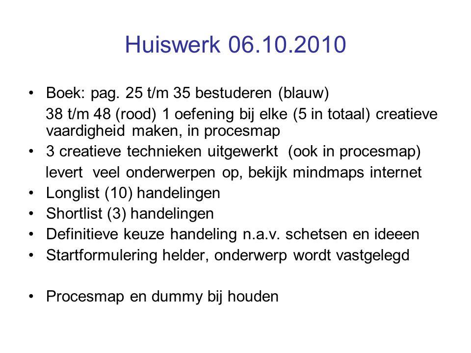 Huiswerk 06.10.2010 Boek: pag. 25 t/m 35 bestuderen (blauw) 38 t/m 48 (rood) 1 oefening bij elke (5 in totaal) creatieve vaardigheid maken, in procesm