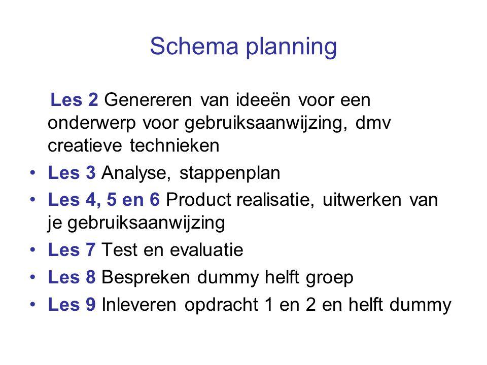 Schema planning Les 2 Genereren van ideeën voor een onderwerp voor gebruiksaanwijzing, dmv creatieve technieken Les 3 Analyse, stappenplan Les 4, 5 en