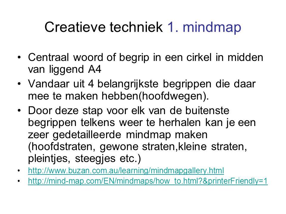 Creatieve techniek 1. mindmap Centraal woord of begrip in een cirkel in midden van liggend A4 Vandaar uit 4 belangrijkste begrippen die daar mee te ma