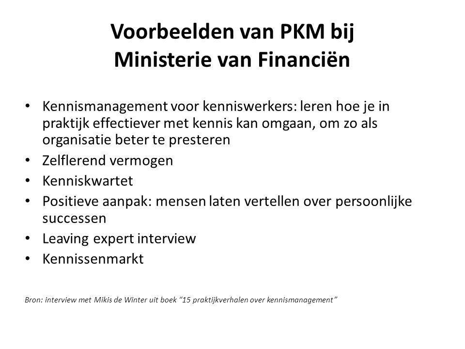 Voorbeelden van PKM bij Ministerie van Financiën Kennismanagement voor kenniswerkers: leren hoe je in praktijk effectiever met kennis kan omgaan, om z