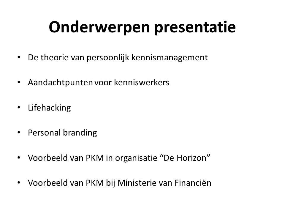 Onderwerpen presentatie De theorie van persoonlijk kennismanagement Aandachtpunten voor kenniswerkers Lifehacking Personal branding Voorbeeld van PKM