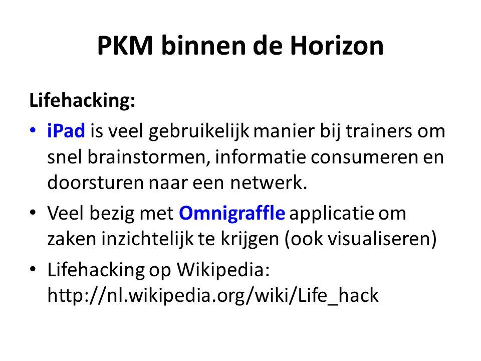 PKM binnen de Horizon Lifehacking: iPad is veel gebruikelijk manier bij trainers om snel brainstormen, informatie consumeren en doorsturen naar een netwerk.