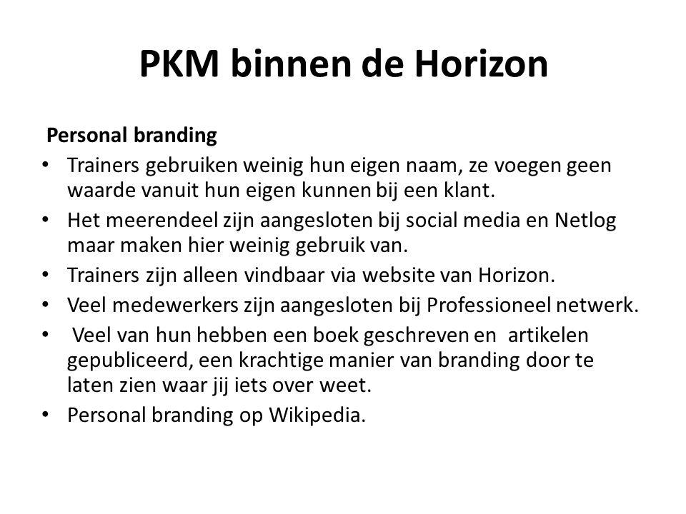 PKM binnen de Horizon Personal branding Trainers gebruiken weinig hun eigen naam, ze voegen geen waarde vanuit hun eigen kunnen bij een klant. Het mee
